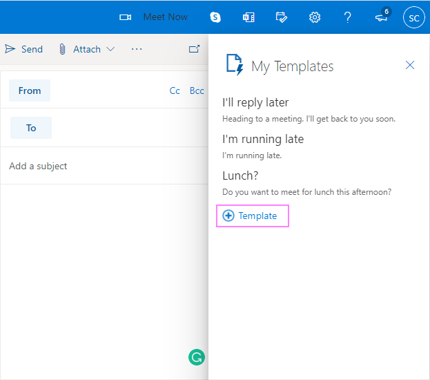 Create a new template in in Outlook.com web app