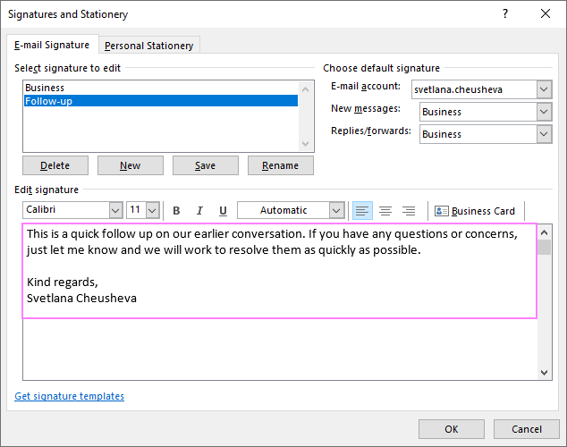Outlook signature as an email template