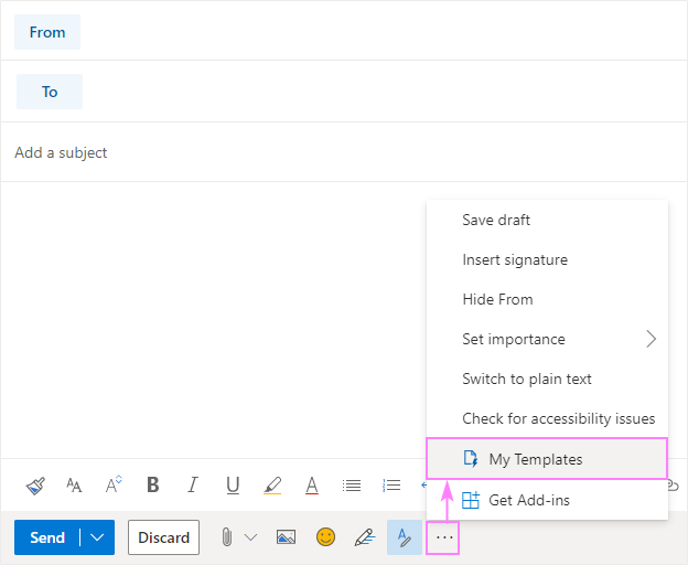 Email templates in Outlook.com web app