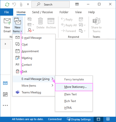 Using a stationery file as an email template