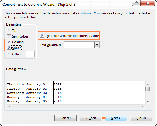 Select the delimiters your text strings contain.