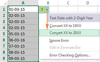 Fixing text dates with two-digit years using Excel Error Checking