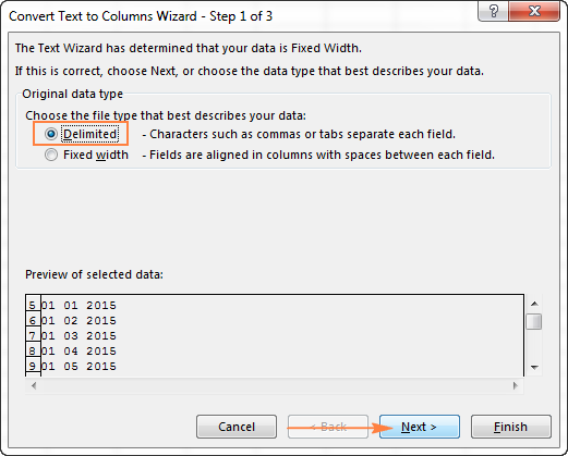 In step 1 of the Convert Text to Columns Wizard, select Delimited and click Next.