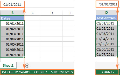 How to distinguish dates from text strings in Excel