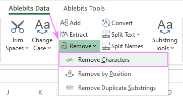 Remove characters in Excel