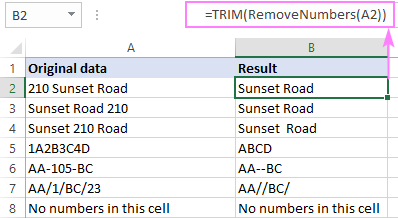 Custom function to remove numbers from a string in Excel