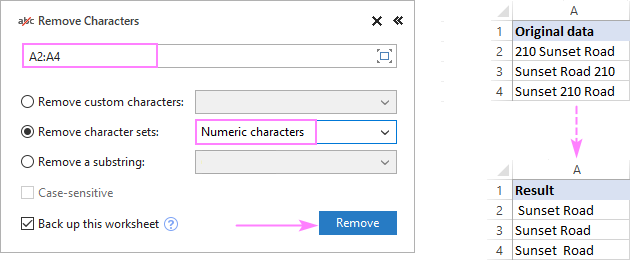 Remove numeric characters