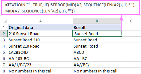Excel formula to remove numbers from a text string