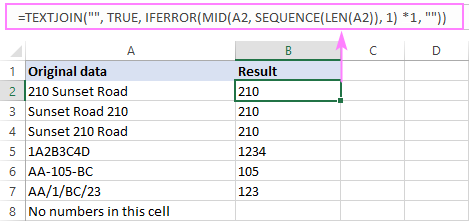 Excel formula to remove text and leave numbers