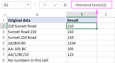 Custom function to remove text and keep numbers in Excel