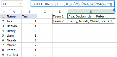 Conditional TEXTJOIN in Excel