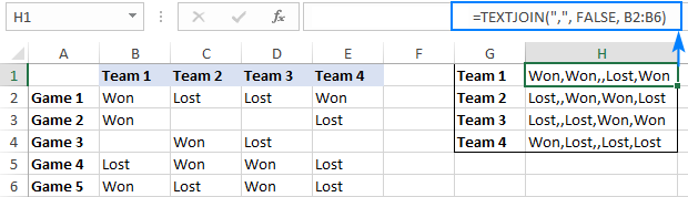 TEXTJOIN formula to convert a column of values to a comma-separated list