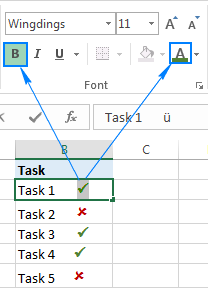 How to insert a tick symbol (checkmark) in Excel