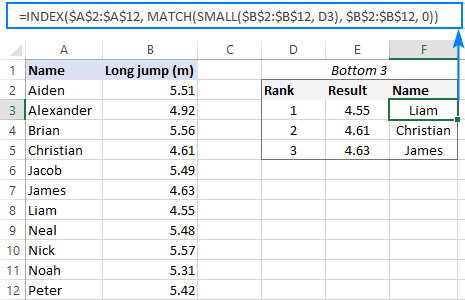 Formula to get data associated with bottom 3 values