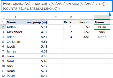 Formula to find top values with duplicates