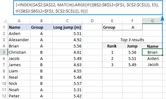 Formula to find top values in Excel with criteria