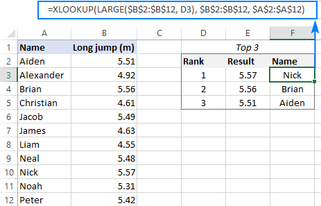 XLOOKUP formula to get matches to top or bottom values