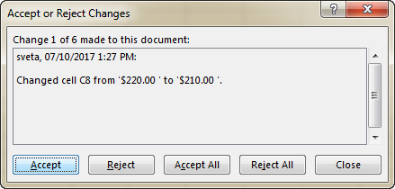 Click Accept or Reject to keep or cancel each change individually.