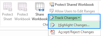 Highlight changes in a shared workbook.