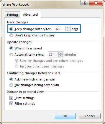 Set for how long to the change history should be kept.