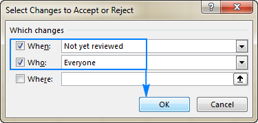 Select the changes to review.