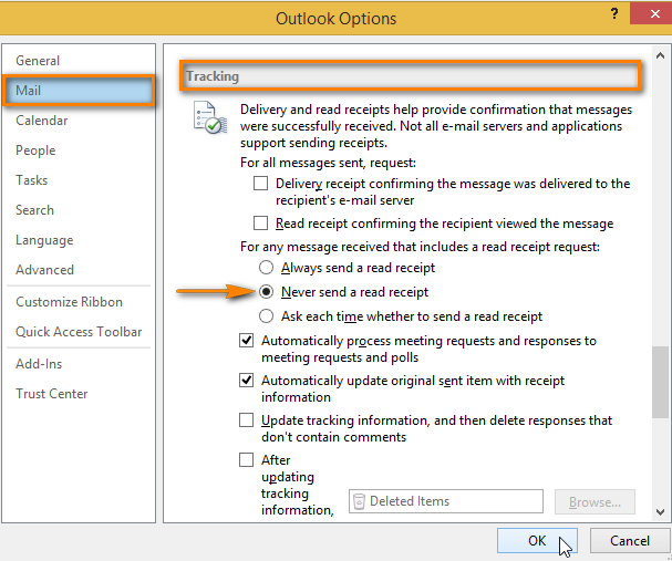 Select the 'Never send a read receipt' radio button in the Tracking area of Mail Outlook Options