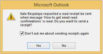 Select the check box in the request dialog window to disable email read confirmations