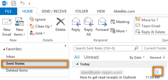 Go to the Sent Items folder to open the message that you sent with a request for a delivery or read receipt