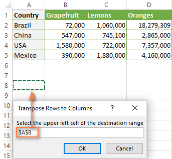How to convert rows to columns in Excel and vice versa