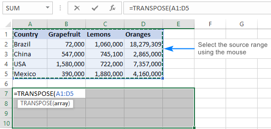 Selecting a range to transpose.