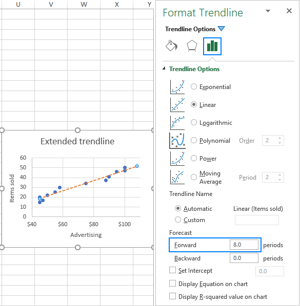 How to add trendline in Excel chart
