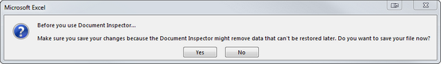 See the notification to save the latest changes before using the Document Inspector