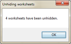 Unhide all sheets in Excel with VBA