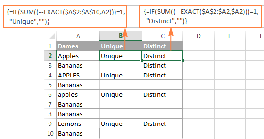 Find case-sensitive unique and distinct values in Excel.