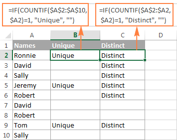 Find unique / distinct values in a column.