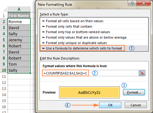 Creating a custom rule to highlight distinct values in Excel