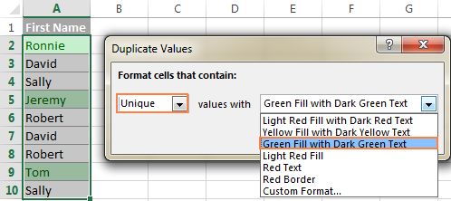 Choose formatting for unique values.