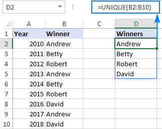 Excel formula to get unique values in a column