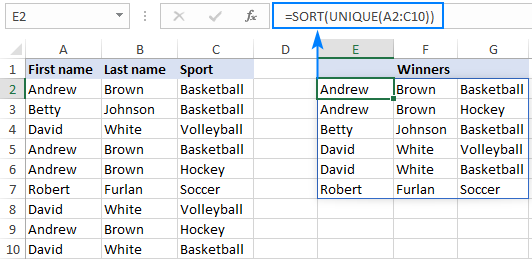 Sorting unique values in alphabetical order
