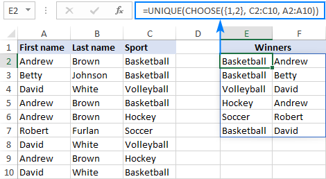 Find unique values in non-adjacent columns.
