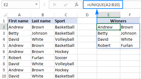Finding unique values in multiple columns