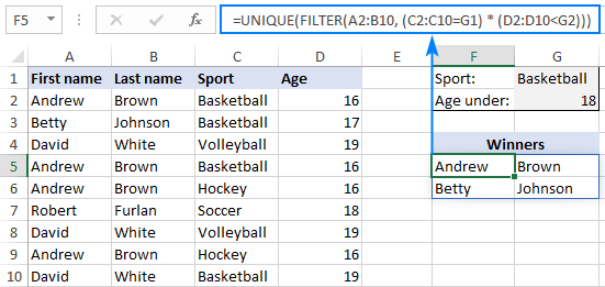 Getting unique values based on multiple criteria
