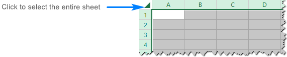 Select the whole Excel worksheet.