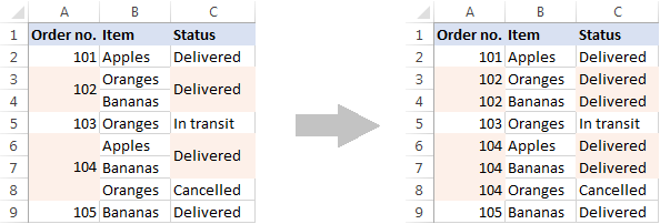 Unmerge cells and copy the original value to each unmerged cell.