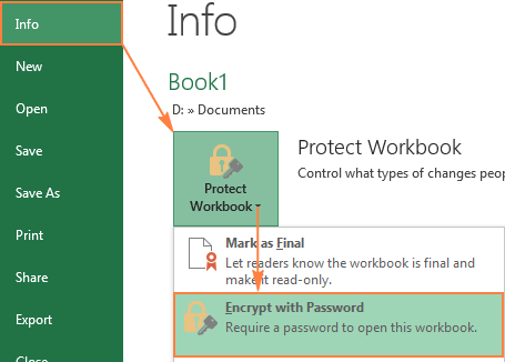 Select the 'Encrypt with Password' option to protect your Excel workbook from opening.