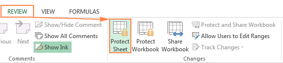 Protecting a sheet in Excel