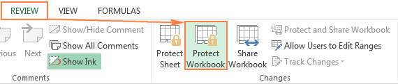 Protecting a workbook in Excel