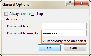 Type a password in the 'Password to modify' box.
