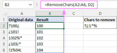 Dynamic array formula to remove unwanted characters