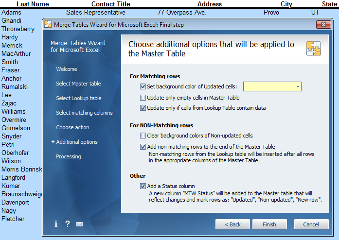 There are important options to configure in the Additional Options area for controlling how the data merge is handled